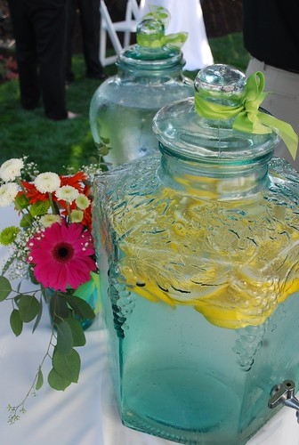 lemon water in a glass dispenser