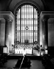 Christmas choir @ Michigan Central Station (mcsdetroitfriend) Tags: old blackandwhite bw michigan detroit photographs archives depot waynestateuniversity 5x7 michigancentralstation glassnegatives