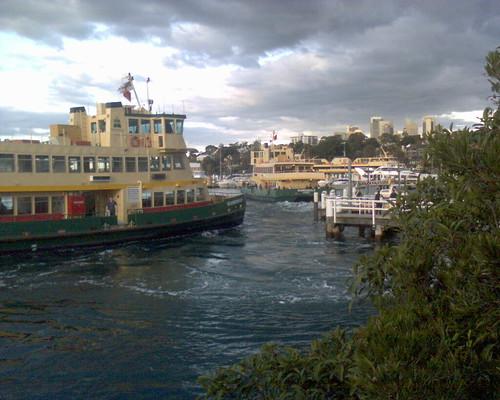 Ferries arrive and leave Balmain wharf 1