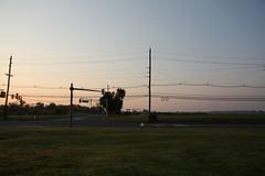 Tractor, Far (interchangeableparts) Tags: tractor field newjersey farm august dailycommute telephonepoles telephonewires mercercounty walkingtowork farmmachinery haywagon notlongaftersunrise