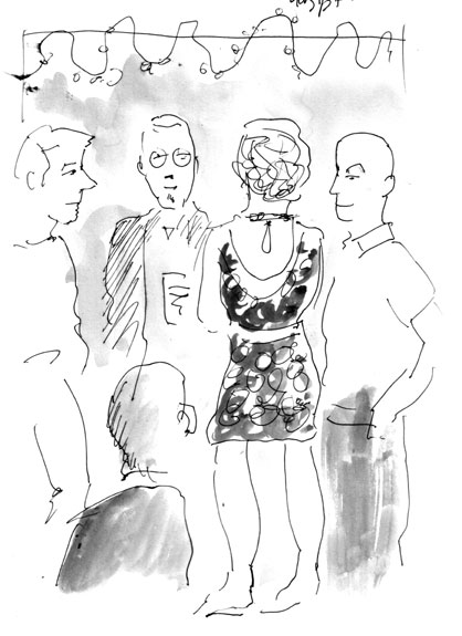 Sketch of Party Crowd at  Worldcon, Montreal