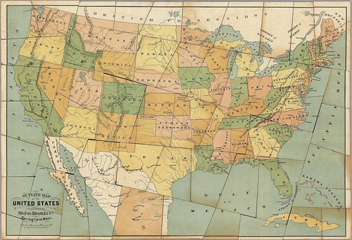 Dissected Outline Map of the United States of America (Milton Bradley 1880)