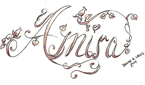 Fancy Script Lettering Tattoo designs by Denise A Wells Flickr Photo