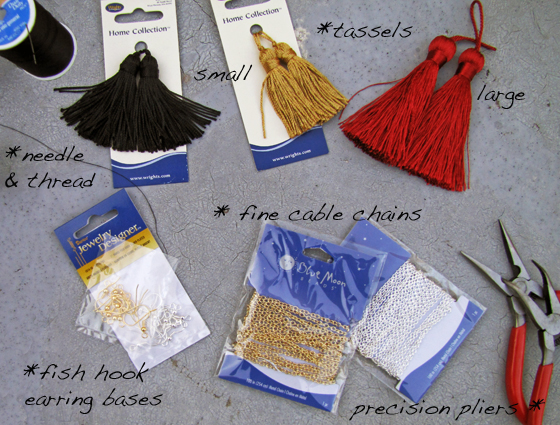 1-Materials-tassel-chain-earrings