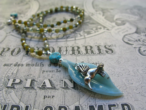 Hummingbird necklace in labradorite