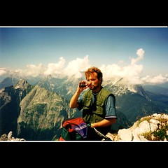 ME IN COKE COMMERCIAL:-) (GERMANY 1995) (ANVAR - RUSSIANTEXAN ) Tags: cloud mountains alps film analog germany austria nikon hiking coke velvia commercial f3 fitness onthetop mittenwald russiantexan anvarkhodzhaev russiantexas svetan svetanphotography