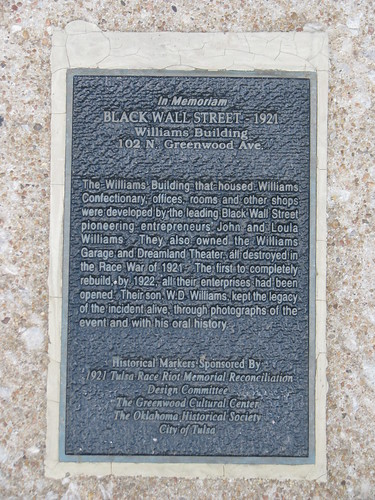 Plaque telling the story of the Williams Building, 102 N. Greenwood Ave., Tulsa, rebuilt 1922