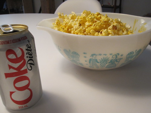 Popcorn and Diet Coke at home