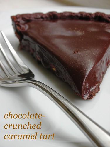 chocolate-crunched caramel tart