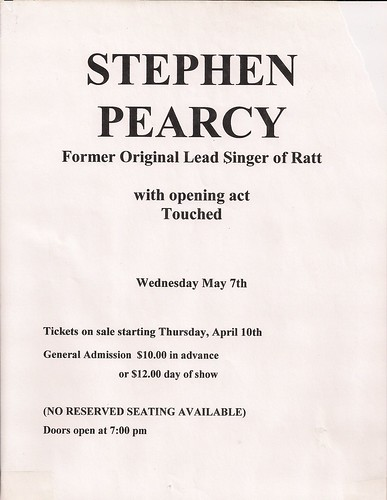 05/07/03 Stephen Pearcy/Touched @ Minneapolis, MN (Flyer)