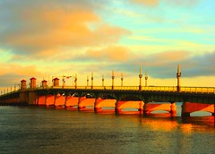 the lion & heaven (Phantasy Photo) Tags: city bridge sunset sun water clouds reflections walking lights heaven slow sundown relaxing lovers lions stunning staugustine flordia