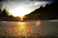 Steilstrecke kurve at sunset (BridgeToGantry) Tags: sunset tarmac germany autos asphalt kerbs nordschleife nurburgring steilstrecke