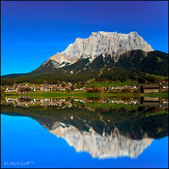 Reflected Zugspitze (no HDR!) - EXplored #281 (Klaus_GAP - taking a timeout) Tags: blue mountain lake mountains reflection green water reflections see sterreich bravo wasser berge garmischpartenkirchen austia zugspitze nohdr