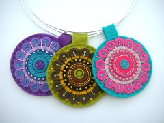 THREE KALEIDOSCOPE PENDANTS ON SILVER CHOKER WIRES (APPLIQUE-designedbyjane) Tags: necklace bright kaleidoscope pendant choker