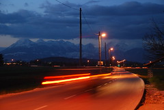 The road from Bizovik (M4j4) Tags: road street blue light orange alps field car night ljubljana lamps msh0610 julijske sloveia kamniske bizovik msh061014