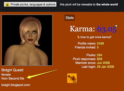 Plurk Adds Second Life as Country