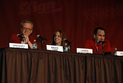 Wonder Woman Panelists, l to r: Bruce Timm, Lauren Montgomery, and Michael Jelenic