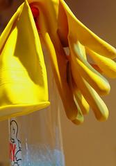 Washing-up (Nikonsnapper) Tags: yellow nikon rubber gloves dishwashing d700 project36612009february
