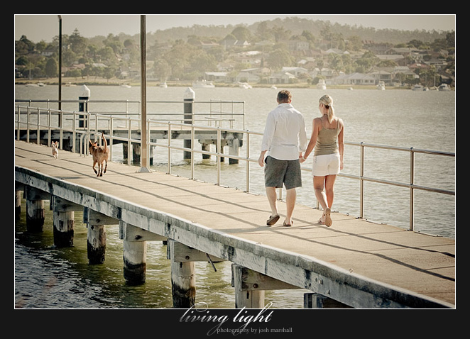 On the jetty. Engagement session at Speers Point, Lake Macquarie, Newcastle.