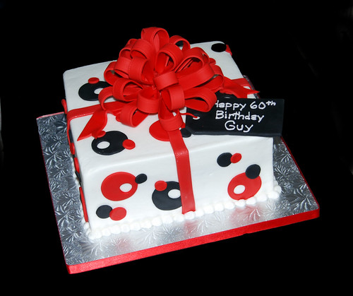 red and black package 60th birthday cake