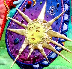 Star light (cymberrain) Tags: blue color art yellow stars colorful purple needlework embroidery workinprogress hippy tapis wip funky planet paisley applique couture embellished etoile couleur dyed celestial celeste creations wallhanging handdyed fiberarts broderie saturatedcolor artsplastiques fancywork brightcolored paintingonfabric couleursvives fancyneedlework loisirscreatifs celestialpaisleys stitchbyhand teintureartisinale