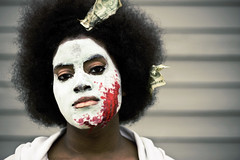 (morgan.laforge) Tags: red money afro clay fakeblood facemask christinemiller costofbeauty