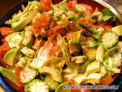Giant bowl of fresh salad