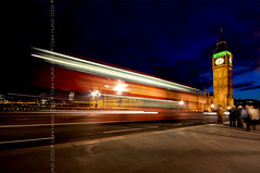 (Claire Hutton) Tags: road street uk longexposure travel bridge red england people motion blur bus london westminster night speed dark lights movement twilight traffic streetlamps streetlights pavement transport housesofparliament parliament bigben blurred bluehour doubledecker westminsterbridge londonbus aftersunset