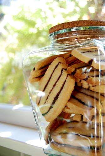 Striped Icebox Cookies in New Jar