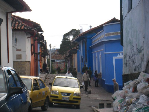 Colombian soldiers patrol a street in La Candelaria