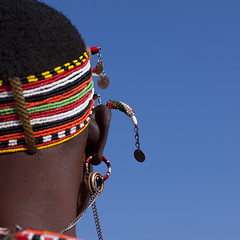 Samburu ear jewels - Kenya (Eric Lafforgue) Tags: africa portrait people face beads kenya african culture tribal ring human ear tribes bead afrika remote tradition tribe ethnic tribo jewel visage afrique ethnology tribu eastafrica beadednecklace 5335 qunia lafforgue ethnie  qunia    beadsnecklace kea    a