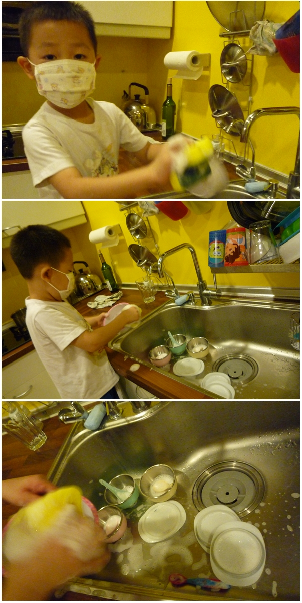 Sean washing dishes