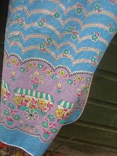 1970s blue vintage apron