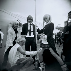 Tuff team (Sean Lowcay (sealow08)) Tags: street people bw anime girl japanese costume holga lomo lomography singapore asia cosplay cartoon holga120cfn cosfest cosfest8