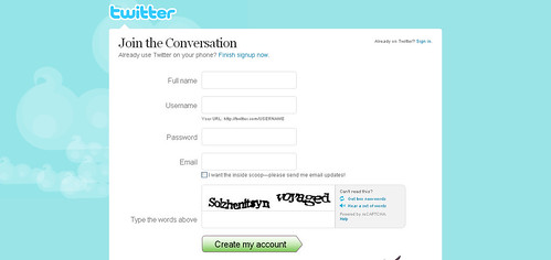Twitter - Create an Account