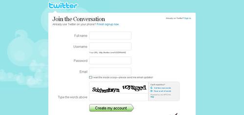 Twitter - Create an Account