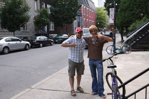 Julien and me on Aylmer Street,  Montreal.