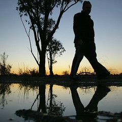 Sunset Puddle-(self portrait) (Axemaniac-Art) Tags: sunset portrait selfportrait reflection tree me water silhouette self puddle pentax australia victoria thumbsup 2008 selfie bendigo bigmomma faithfull gamewinner pentaxk100dsuper k100dsuper axemaniac pfospotlight ultraherowinner gamex2sweepwinner