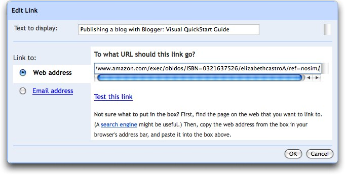 Blogger's new link dialog