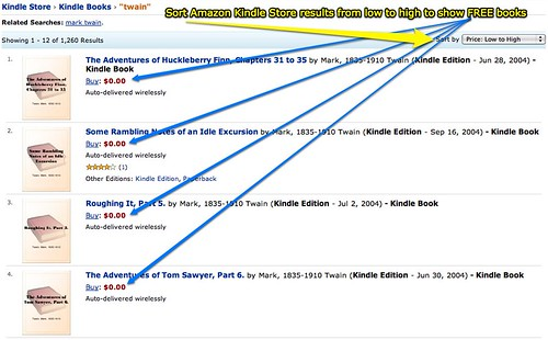 Sort Amazon Kindle Store results from low to high to show FREE books