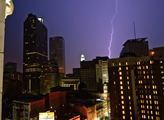 Lightning Strikes (Bruce Bordelon) Tags: street new city storm rain skyline canal big nikon orleans louisiana downtown carlton cityscape crescent bolt ritz lightning easy d200 f28 1424mm
