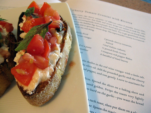 Tomato, Basil and Ricotta Crostini