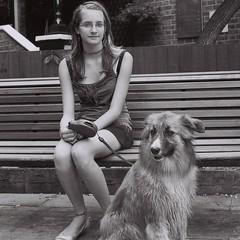 Wimbledon girl & her dog (IrvineShort) Tags: zorki london ilfordxp2 wimbledon