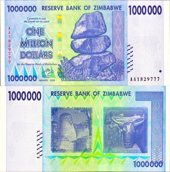 1 milión dolárov Zimbabwe 2008