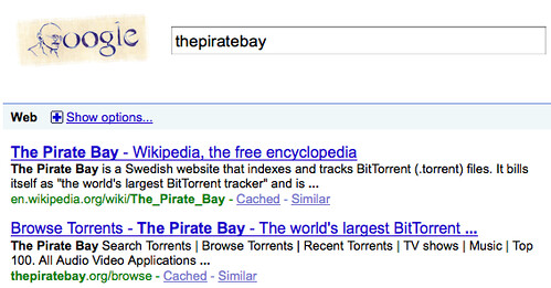thepiratebay and google