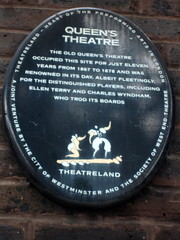 Photo of Ellen Terry, Charles Wyndham, and Queen's Theatre, Long Acre black plaque
