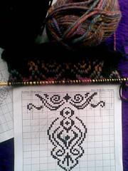 Mock fair isle scarf for felting (OodleArdle) Tags: black color wool knitting felting fair variegated isle stranded