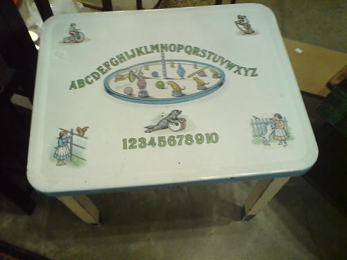 Enameled Tin Kids ABC Table