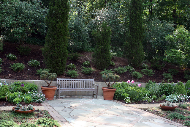 Greenwood garden, bench and bank
