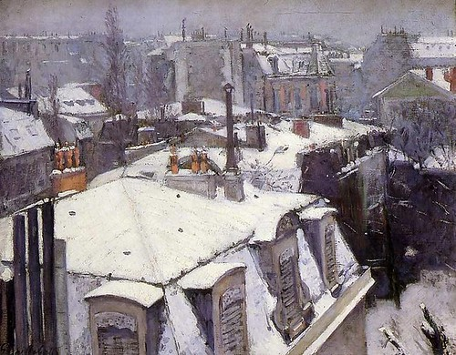 G Caillebotte rooftops under snow